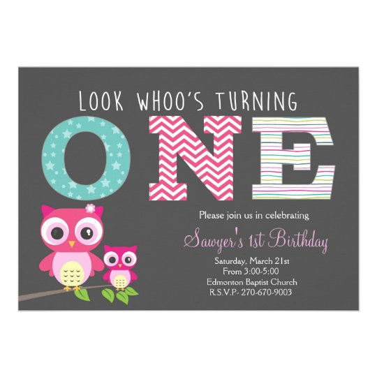 Owl First Birthday -Look whoo is turning one 13 Cm X 18 Cm Invitation Card