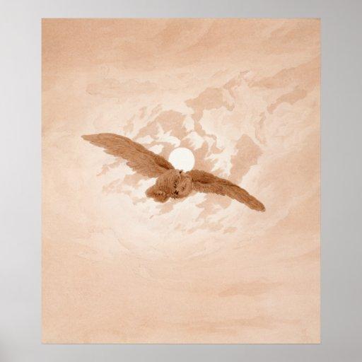 Owl Flying against a Moonlit Sky Caspar Friedrich Poster