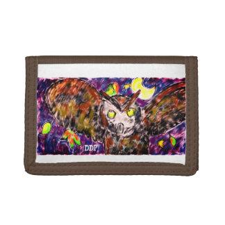 owl flying art tri-fold wallet