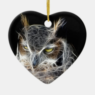 owl fractal design christmas ornament