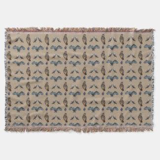 Owl Frenzy Throw Blanket (Beige)