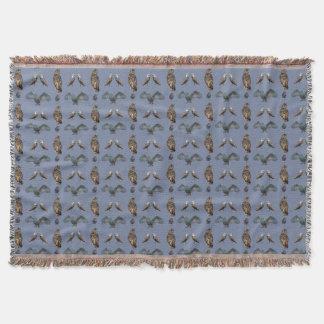 Owl Frenzy Throw Blanket (Blue)