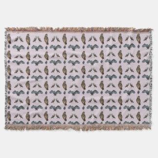 Owl Frenzy Throw Blanket (Dusty Pink)