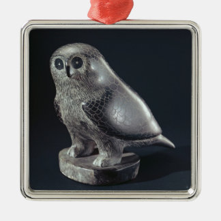 Owl, from Cape Dorset Silver-Colored Square Decoration