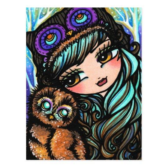 Owl Girl Fairy Fantasy Art Postcard by Hannah
