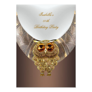 Owl Gold Coffee Elegant Birthday Party Card