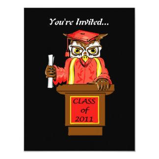 Owl Graduation Class of 2011 11 Cm X 14 Cm Invitation Card