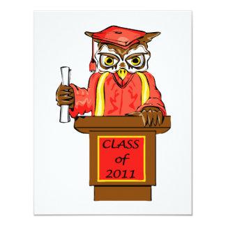 "Owl Graduation Class of 2011 4.25"" X 5.5"" Invitation Card"