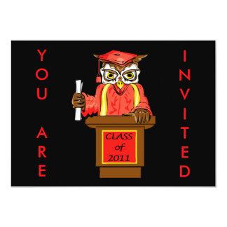 "Owl Graduation Class of 2011 5"" X 7"" Invitation Card"