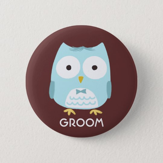Owl Groom - Cool Illustration with Custom Text 6 Cm Round Badge