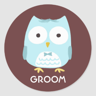 Owl Groom - Fun Illustration with Custom Text Round Sticker