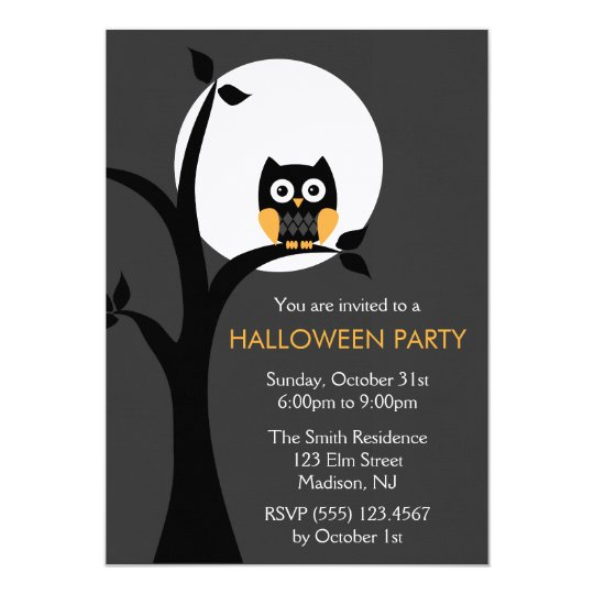 Owl Halloween Party Invitations