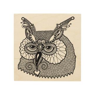 Owl Head Zendoodle 5 Wood Wall Art