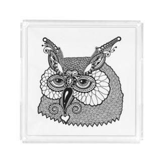 Owl Head Zendoodle Acrylic Tray