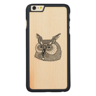Owl Head Zendoodle Carved Maple iPhone 6 Plus Case