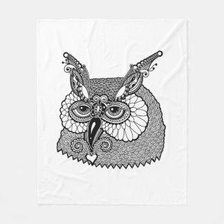 Owl Head Zendoodle Fleece Blanket