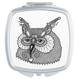 Owl Head Zendoodle Makeup Mirror