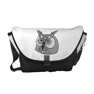 Owl Head Zendoodle Messenger Bags