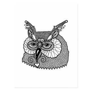 Owl Head Zendoodle Postcard