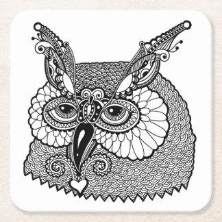 Owl Head Zendoodle Square Paper Coaster