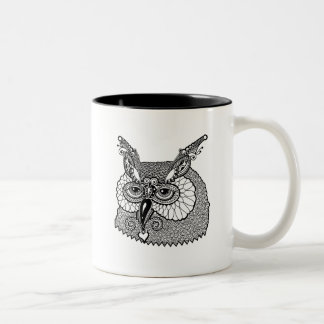Owl Head Zendoodle Two-Tone Coffee Mug