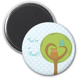 Owl Heart Tree 6 Cm Round Magnet