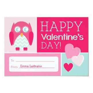 Owl & Hearts Kids School / Classroom Valentine 9 Cm X 13 Cm Invitation Card