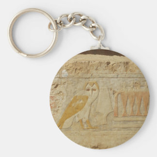 Owl Hieroglyph Detail, Hatshepsut Temple, Egypt Basic Round Button Key Ring