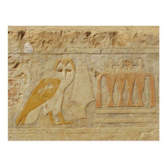 Owl Hieroglyph Detail, Hatshepsut Temple, Egypt Postcard