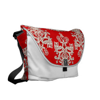 Owl hollow red-white messenger bags