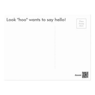 Owl: Hoo Wants to Say Hello Postcard