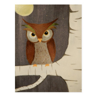 Owl in a Birch Tree Postcard
