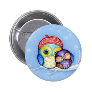 Owl in a Little Red Beret 6 Cm Round Badge