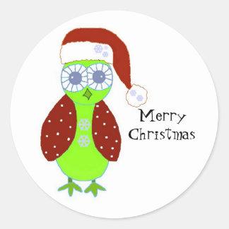 Owl in a Santa Hat Round Sticker