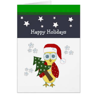 Owl in a Santa Hat with Christmas Tree Greeting Card