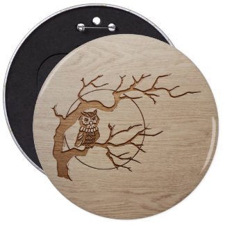 Owl in a tree engraved design 6 cm round badge