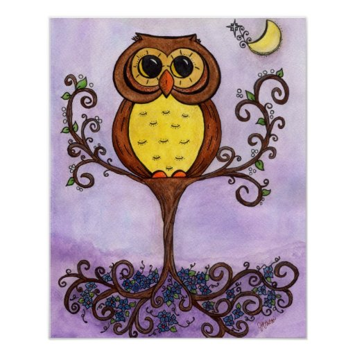 Owl in a Tree Poster