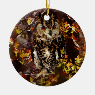 Owl in Autumn Christmas Ornament