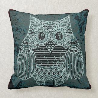"""Owl in batik style3 Throw Pillow 20"""" x 20"""""""