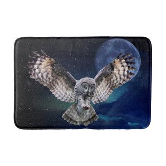 Owl in Flight Bath Mats