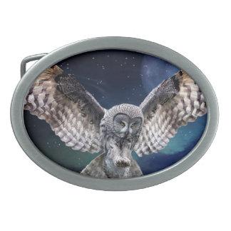 Owl in Flight Oval Belt Buckle