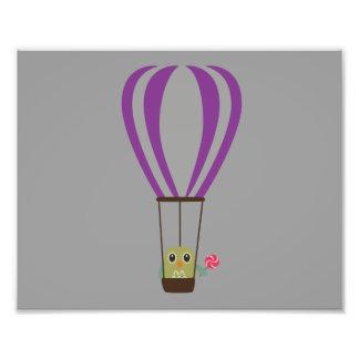 Owl in hot-air balloon with a lollipop photo print