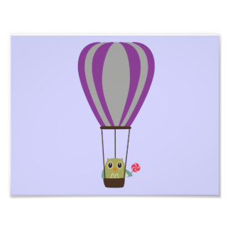 Owl in hot-air balloon with a lollipop photo art