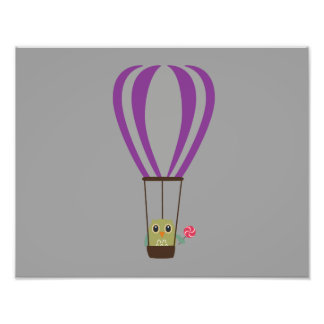 Owl in hot-air balloon with a lollipop photograph