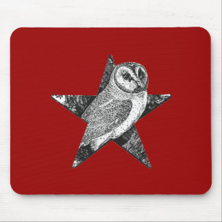 Owl in Pentagram Pentacle Wicca Pagan Mousepads