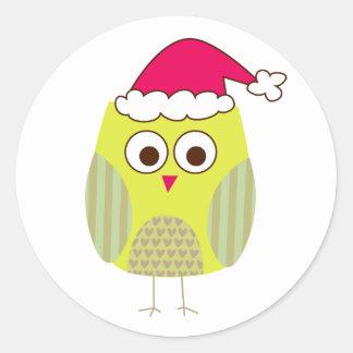 Owl in Santa Hat Round Stickers