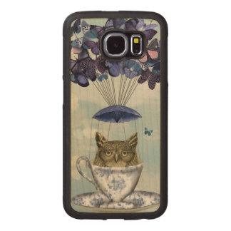 Owl In Teacup 2 Wood Phone Case