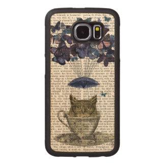 Owl In Teacup Wood Phone Case