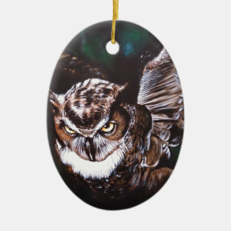 Owl in the night ceramic oval decoration