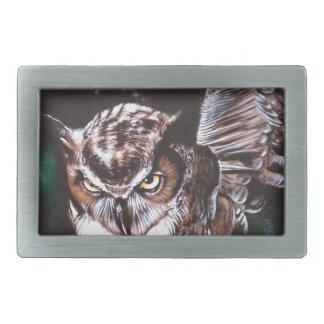 Owl in the night rectangular belt buckle